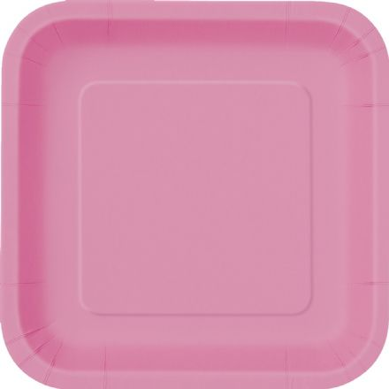 "16 Hot Pink Paper Party Plates 7""/18cm Square"